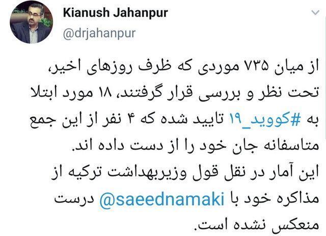 سخنان وزیر بهداشت ترکیه درباره کروناویروس در ایران، درست منعکس نشده است